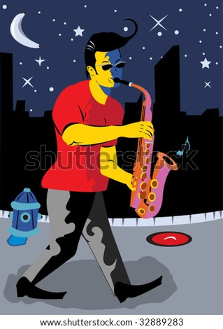young man walking on the street at night playing the saxophone.