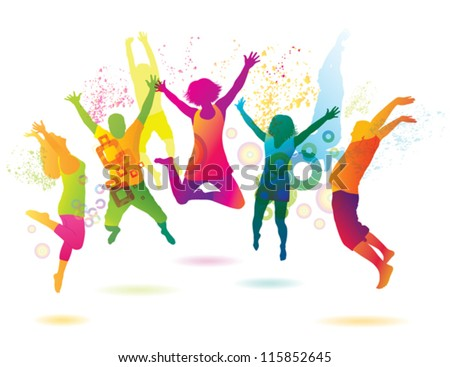 Young people on the party . The dancing teenagers. - stock vector