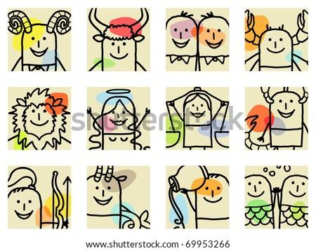 12 Zodiac signs - stock vector