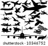 A380, A350, Dreamliner, Space Shuttle, ISS, F14, F16, F22, Corsair, Mustang, Su, Strike Fighter, concord and many more airplanes - stock vector