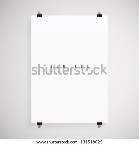 A4 / A3 Format paper design vector with text, paper clips and shadow - stock vector