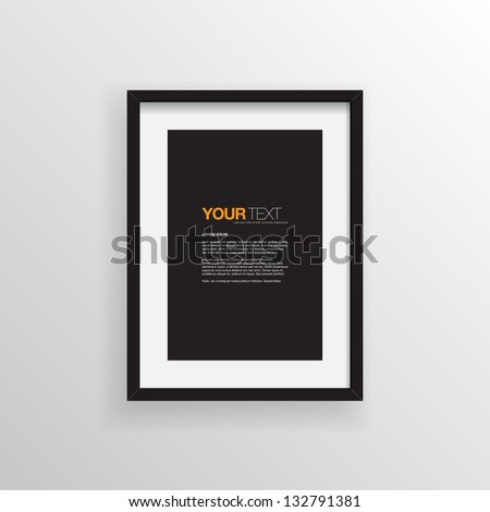 A4 / A3 Format paper design vector with text, picture frame and shadow - stock vector