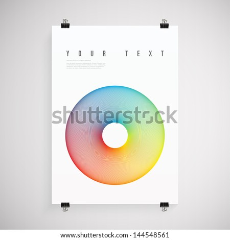 A4 / A3 Format paper design with text, colorful circle, paper clips and shadow Eps 10 vector illustration - stock vector
