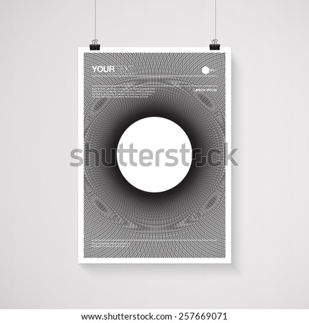 A4 / A3 format poster minimal abstract black and white design with your text, paper clips and shadow  Eps 10 stock vector illustration  - stock vector