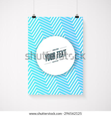 A4 / A3 format poster minimal abstract blue zig-zag design with your text, paper clips and shadow Eps 10 - stock vector