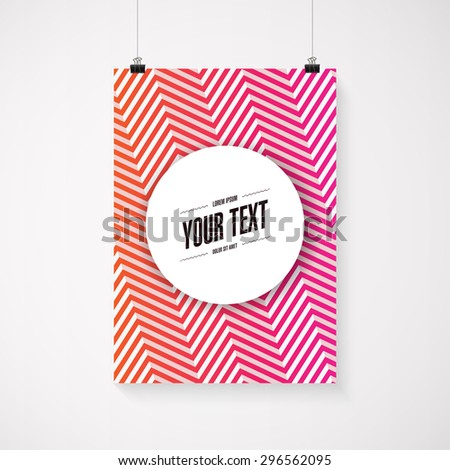 A4 / A3 format poster minimal abstract hot color zig-zag design with your text, paper clips and shadow Eps 10 - stock vector