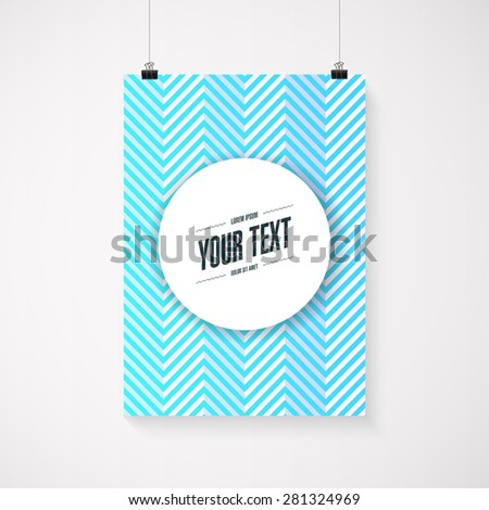 A4 / A3 format poster minimal blue abstract zig-zag design with your text, paper clips and shadow Eps 10 stock vector illustration  - stock vector