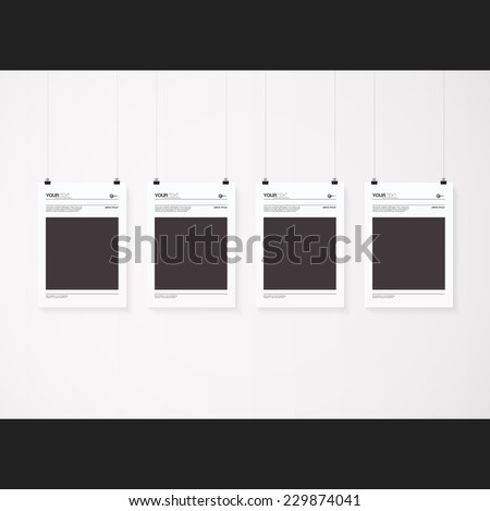 A4 / A3 format posters with minimal abstract design with your text, paper clips and shadow  Eps 10 stock vector illustration  - stock vector