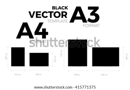 A3 and A4 page format black vector eps10 template. vertical and horizontal orientation design with A3 and A4 format size. Vector editable black page template - stock vector