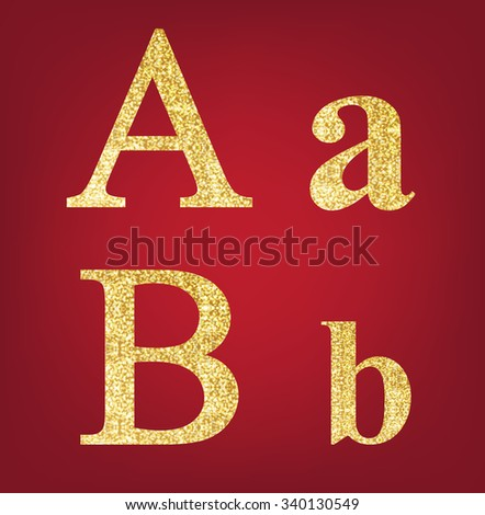 A B alphabet set  made up of gold spangles on the red background