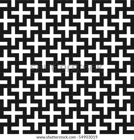 A b&w vector patterns made with 'plus' sign. - stock vector