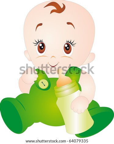 A baby eating milk from the bottle. Vector isolated on white background - stock vector