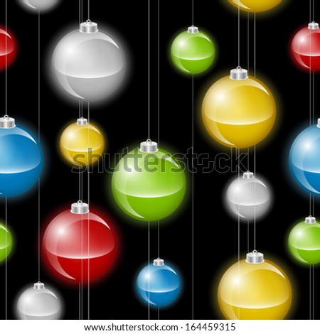 A background depicting multicolored christmas baubles or lights on strings. Seamlessly repeatable. Raster. - stock vector