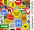 A background depicting various types of road signs. Eps 10 Vector. - stock photo