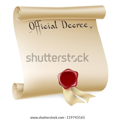 A background design element of an antique historical paper scroll document or decree with red wax seal. - stock vector