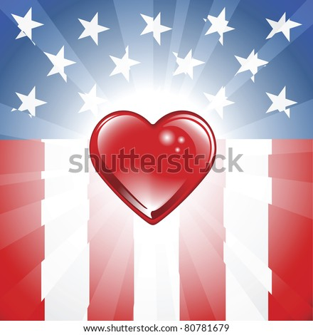 A background featuring Heart shape and stars and stripes background - stock vector