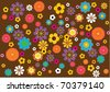 A background pattern inspired by 70s flowers. - stock vector