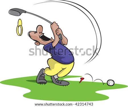 A bad cartoon Golfer swinging and missing. Golfer and grass are on separate layers. - stock vector