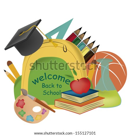 a bag with a lot of school related stuff in a white background