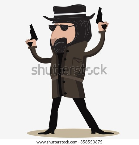 a bandit hold two guns aim to the air - stock vector