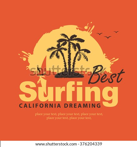 A banner with the inscription The best surfing in California with a wave and surfer