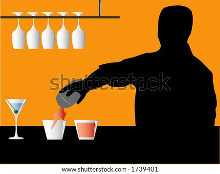 A bartender pouring drinks. - stock vector