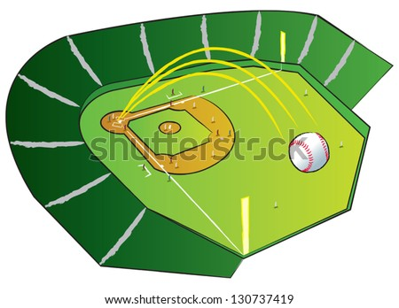 A baseball flying high out of the park with bases loaded. - stock vector