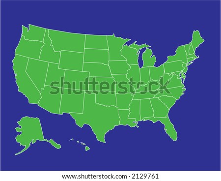 a basic map of the united states of america in green on a blue background - stock vector