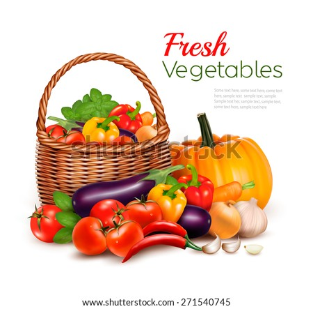 A basket full of fresh vegetables. Vector background. - stock vector