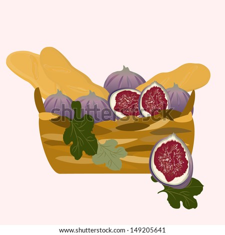 a basket of baguettes and figs - stock vector