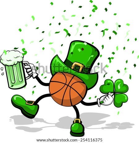 A basketball leprechaun celebrating St. Patrick's Day by dancing with a three leave clover, green beer, and confetti. - stock vector