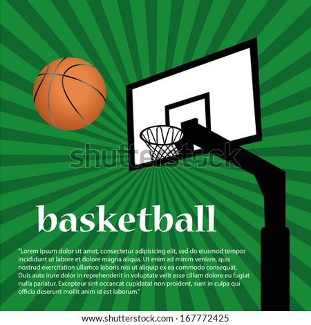 a basketball's net and ball with some text - stock vector