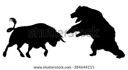 A bear fighting a bull standing for the bears versus bulls stock market metaphor, in silhouette - stock vector