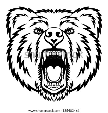 A Bear head logo. This is vector illustration ideal for a mascot and tattoo or T-shirt graphic. - stock vector