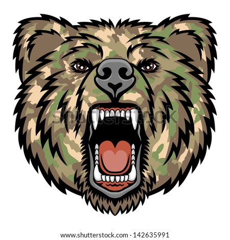 A Bear head.  Perfect for paintball mascot in a military style. This is vector illustration ideal for a mascot and tattoo or T-shirt graphic. - stock vector
