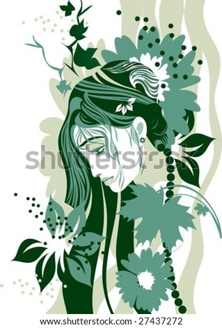 a beautiful blonde girl adorned hair with flowers - stock vector