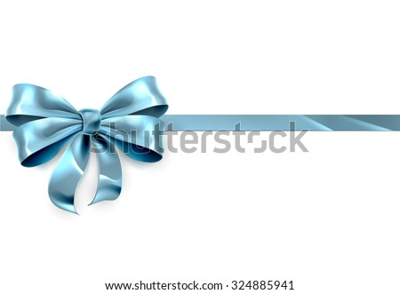 A beautiful blue ribbon and bow from a Christmas, birthday or other gift