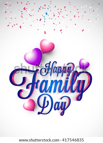 A Beautiful card of Happy family day with stylish calligraphy and heart shape balloon.