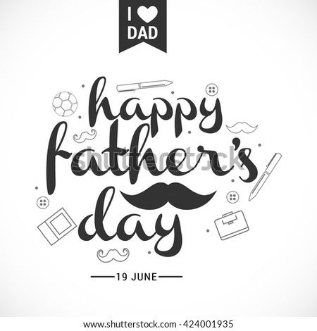 A beautiful card of happy fathers day with stylish typography. - stock vector