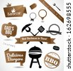 A beautiful collection of a barbecue badges, stamps, emblems and banners vector - stock photo