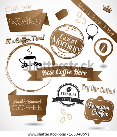 A beautiful collection of a coffee badges, stamps, emblems and banners vector - stock vector