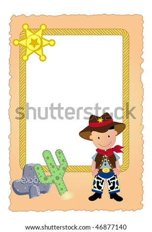 a beautiful design of a vector cowboy card and elements.