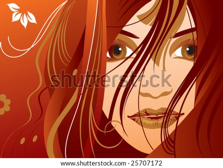 a beautiful girl adorned hairs flowers - stock vector