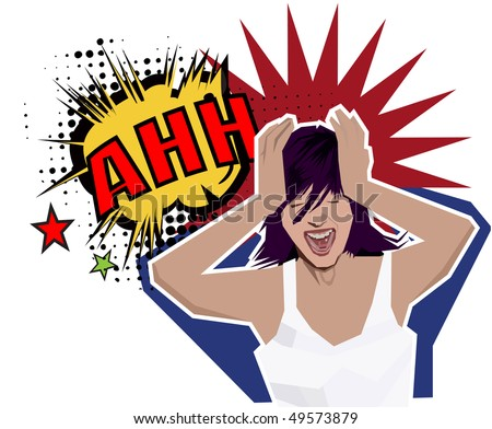 a beautiful girl cracking under pressure - stock vector