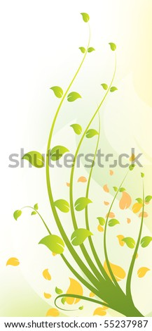 A beautiful green and yellow floral background design. - stock vector