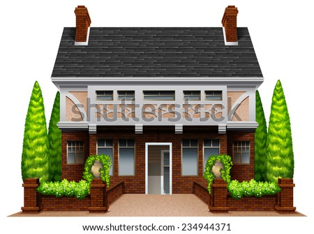 A beautiful house on a white background  - stock vector