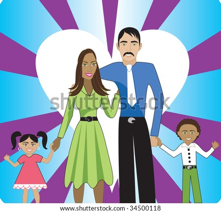 A beautiful interracial family of 4 showing their love and happiness for each other. - stock vector