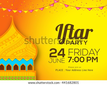 Beautiful invitation card iftar party dinner stock vector royalty a beautiful invitation card for iftar party dinner celebration stopboris Image collections