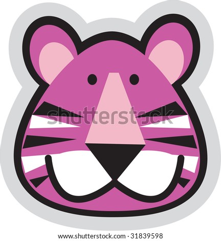 a beautiful pink illustrated tiger face with strips