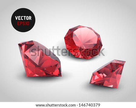 A beautiful ruby gems (vector objects) - stock vector